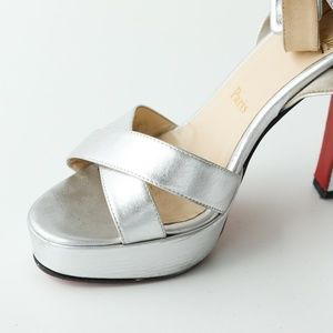 Christian Louboutin Shoes - Christian Louboutin Silver Platform Sandal Heels